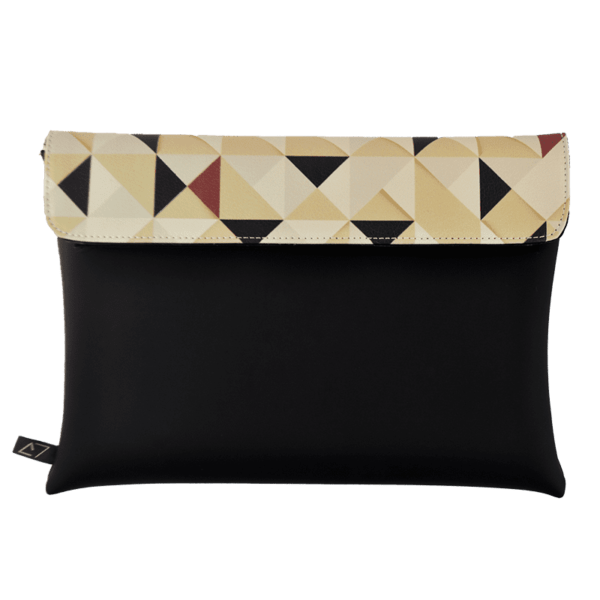 clutch-bag-ipad-case-9.7-neoprene-graphic-triangle-pattern-beige-front