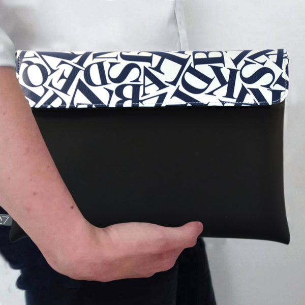 outfit-ideas-clutch-bag-ipad-case-9.7-neoprene-graphic-blue-letters-pattern