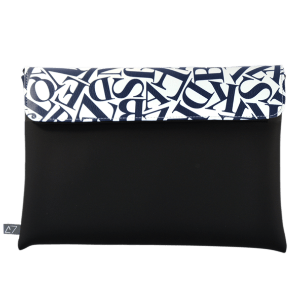 clutch-bag-ipad-case-9.7-neoprene-graphic-letters-blue-front