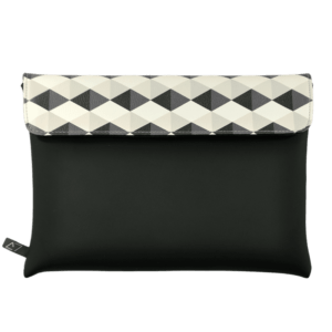 clutch-bag-ipad-case-9.7-neoprene-graphic-grey-rhombus-front