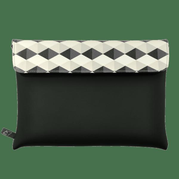 clutch-bag-ipad-case-9.7-neoprene-graphic-grey-rhombus-front