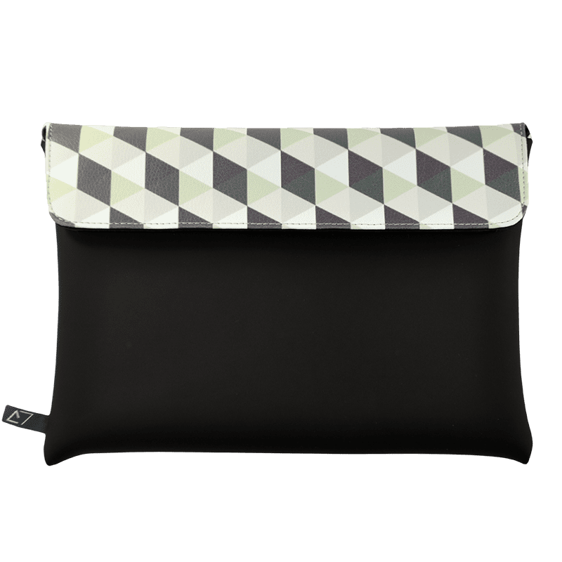 clutch-bag-ipad-case-9.7-neoprene-graphic-green-rhombus-front