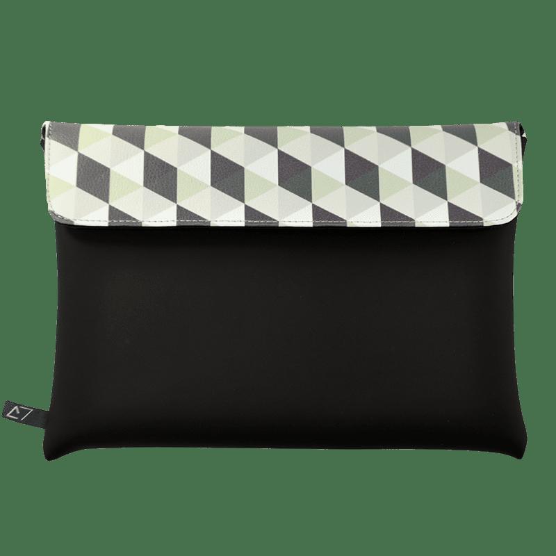 clutch-bag-ipad-case-9.7-neoprene-graphic-green-rhombus-front